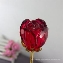 Top vente effacer cristal rose fleur artisanat cadeaux