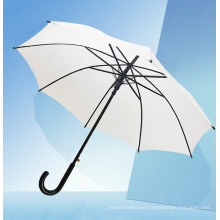 High Quality Auto Open Double U Ribs Leather Handle Straight Umbrella with Black Coating