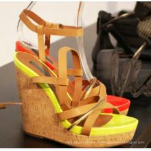 Новый стиль высокий каблук Клин сандалии летом (HS13-097)