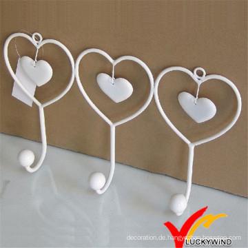 Weißer Herzform Metall Wandhaken