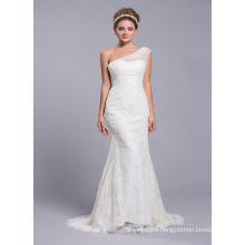 One Shoulder Beading Bohemian Wedding Dress