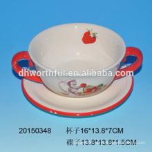 Керамическая чашка с блюдцами с дизайном обезьян