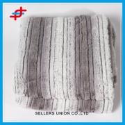 Polyester Printed Stripe-brushed PV Plush Fleece Blanket