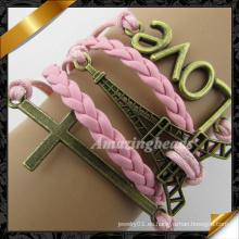Pulsera del amor, pulsera cruzada, pulsera de cuero con joyería encantos (fb0117)