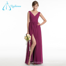 Pleat Split Front Chiffon V Neck Sleeveless Bridesmaid Dresses