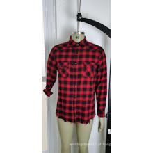 Camisa masculina 100% algodão vermelho e preto xadrez