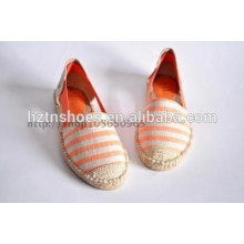 Stripe casual and comfortable in Europe commuter contracted flat linen shoes for women's shoes