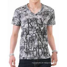 Farbstoff-Gewebe-Siebdruck-Mode-Baumwolle V Neck Men T-Shirt
