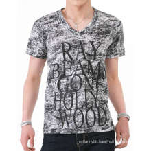 Dye Fabric Screen Printing Fashion Cotton V Neck Men T Shirt