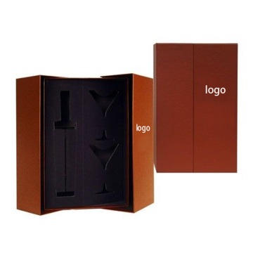 Elegant Kraft Paper Wine Packaging Carrier Box with Gold