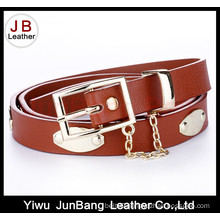 Fashionable PU Lady Belt with a Metal Pendant