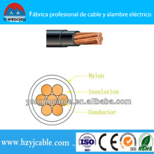Thhn conductor de cobre PVC aislados Nylon Jacket Wire y Cable