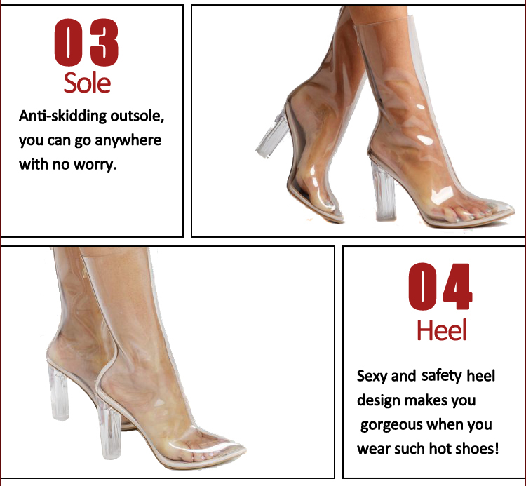 Transparent summer cool Heel Bootie Sandals