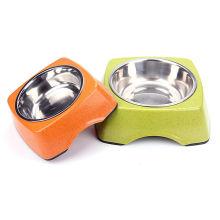 Bol pour chien en fibre de bambou Bol en céramique pour animal en acier