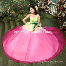 El quinceanera moderno rebordeado de calidad superior del vestido de noche del melocotón del vestido del vestido de noche del 100% viste el vestido de bola