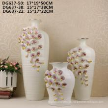 Heißer Verkauf kleiner Mund weiße Blume keramische Vase für Hauptdekor