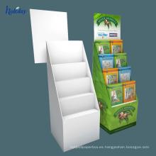 Soporte / cajas de exhibición portátiles del piso de la cartulina acanalada de la tienda al por menor para el producto del cd / dvd