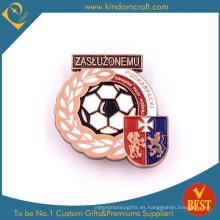 Insignia de Pin de hierro acabado de alta calidad personalizado para la competencia de fútbol