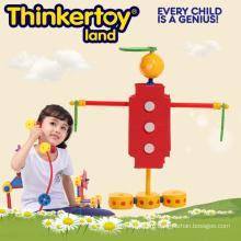 Детские развивающие пластиковые строительные блоки игрушки