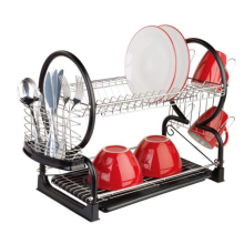 Support à vaisselle à 2 niveaux en acier inoxydable avec porte-gobelet