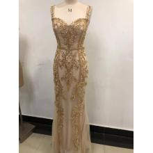 Party Gold Shiny Machine Beaded Ball Evening Dress