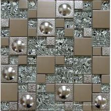 Стеклянная мозаичная настенная плитка, металлическая мозаика из нержавеющей стали (SM254)