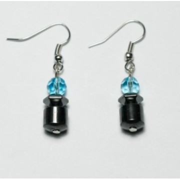 Hematite Taiji Earring with silver color finding