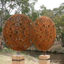 Décoration publique moderne évidée grand jardin en acier corten sculpture