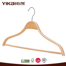 Laminated wooden shirt hanger with notches and trousers bar clothes hanger