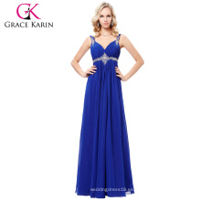 Grace Karin 2017 nuevo vestido de noche formal azul largo vestido de fiesta vestido de dama de honor baile de fin de curso Tamaño de archivo 4-16 GK000129-1