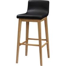 Custom Wood High Bar Stool with PU Leather Seating