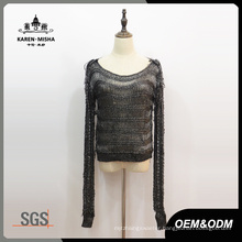 Women Fashion Mesh Long Sleeve Sweater