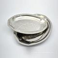 Polieren von 12-Zoll-Silber Edelstahl ovalen Teller Teller Servierplatte Set