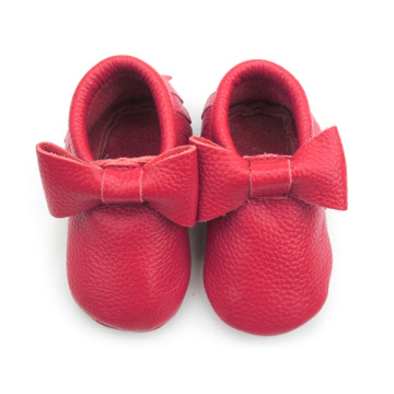 Leather Moccasins Soft Red Baby Shoes