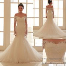 Lange Hülsen nach Maß formale Brautkleid-Entwürfe Spitze-Meerjungfrau Vestido De Casamento Alibaba