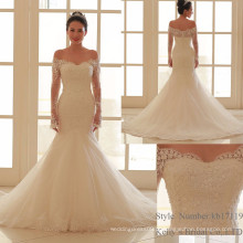 Manga comprida Custom Made Formal Bridal Gowns Designs Lace Mermaid Vestido De Casamento Alibaba