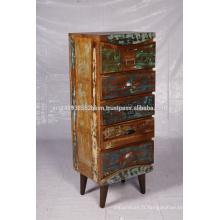 Coffre à tiroirs hauts en bois récupéré