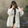Отличный быстрый поставщик натуральный мех енота пальто мода