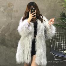 Mode de luxe de haute qualité de véritables manteaux de fourrure de raton laveur