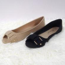Art und Weise spätester Entwurf Glänzender flacher bequemer Piscine Mundschuh Peep Toes beschuht Frauen flache beiläufige Schuhe