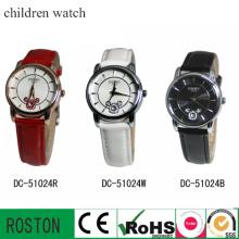 Relógio de couro infantil para quartzo