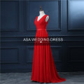RASA-13 Directionally Pleated Bodice Evening Party Gowns Rose Madder V Neck and Low Back Full Length Cheap Long Evening Dresses