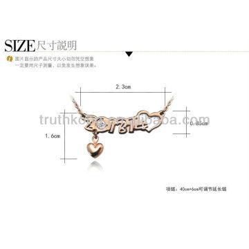 Collar precioso del acero inoxidable del oro color de rosa de 2013 modas