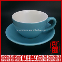 Matte black porcelain coffee cup saucer set