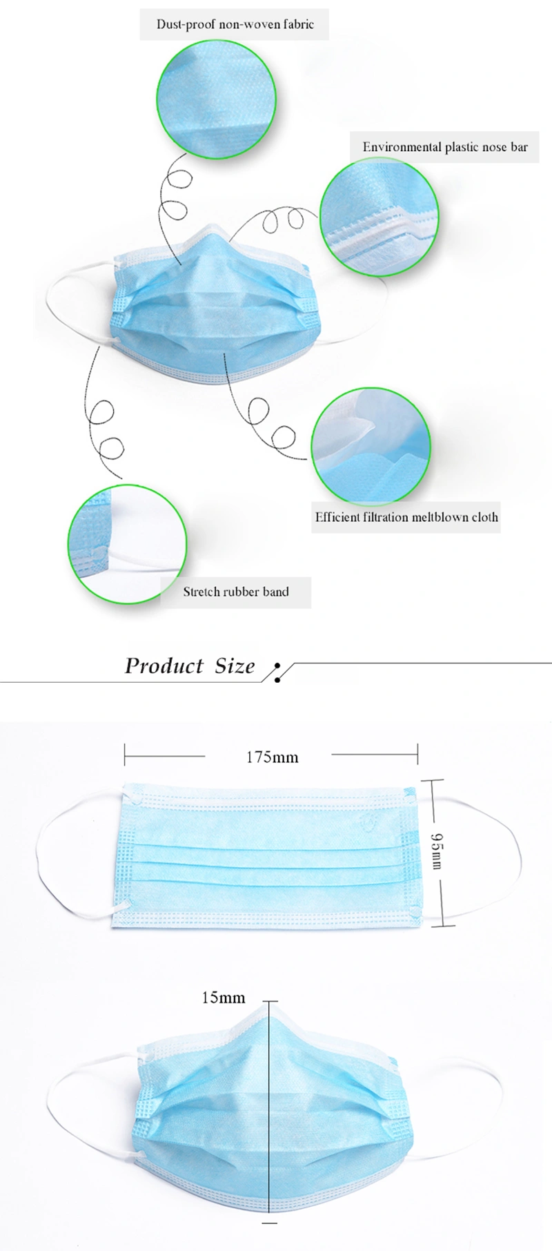 2 Disposable Three Ply Surgical Non Woven Medical Masks For Hospital Clinic Face Mask