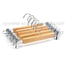 Venta al por mayor de pantalones de madera perchas con ancho ajustables clips
