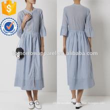 Blue Striped Cotton Maxi Dress Manufacture Wholesale Fashion Women Apparel (TA4078D)