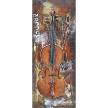 Custom Copy Metal Oil Painting with Guitar