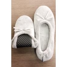 Zapatillas planas de franela gris con lazo para mujer