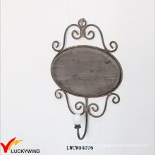 Scroll Campo Wood Plauqe Metal emoldurado Single Hooks Hat Hook